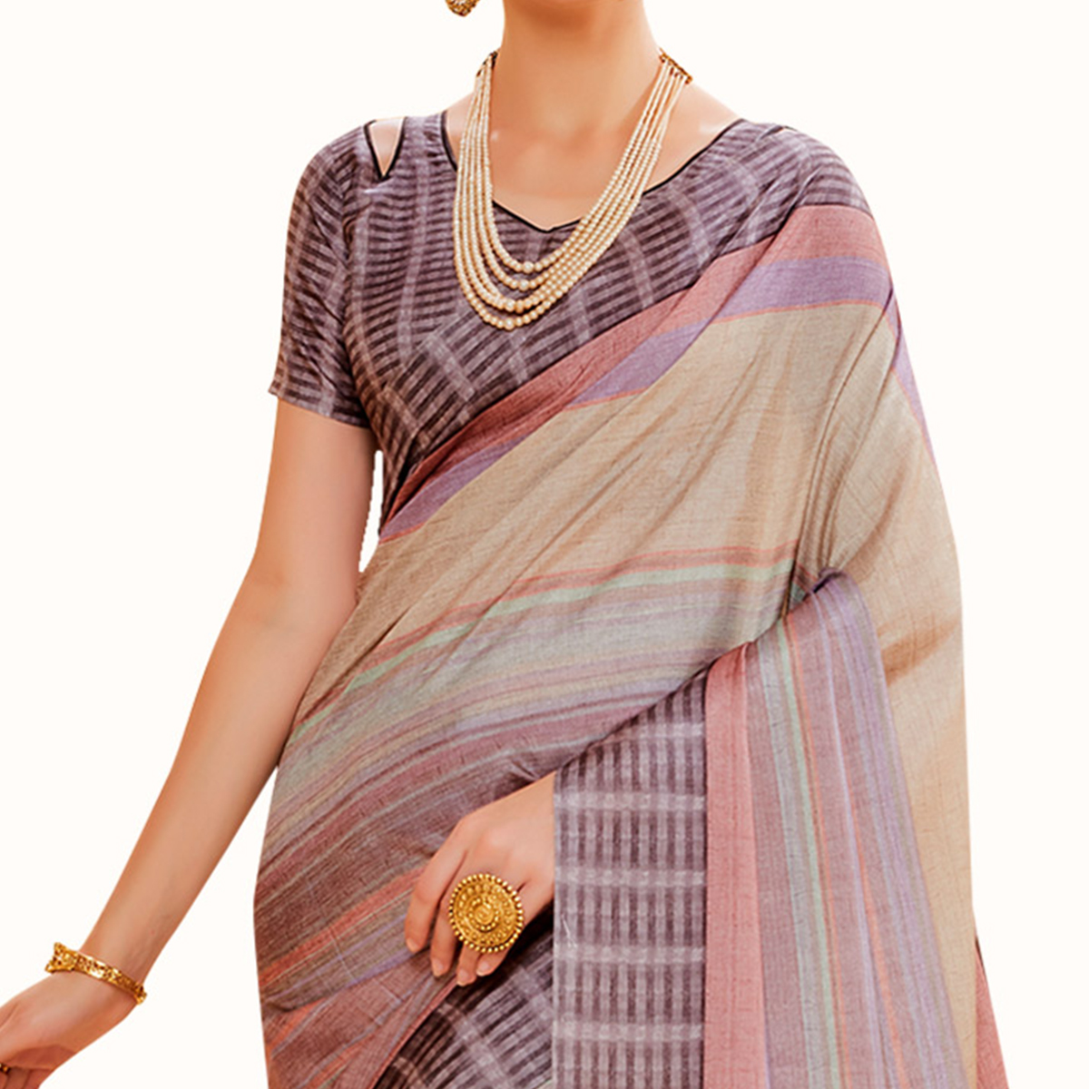 Gleaming Multi Colored Festive Wear Printed Manipuri Silk Saree