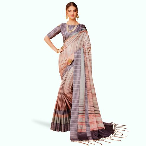 Mesmeric Beige Colored Festive Wear Printed Manipuri Silk Saree