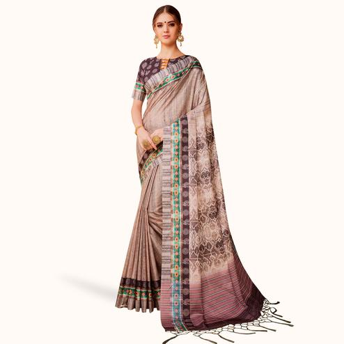 Unique Beige Colored Festive Wear Printed Manipuri Silk Saree