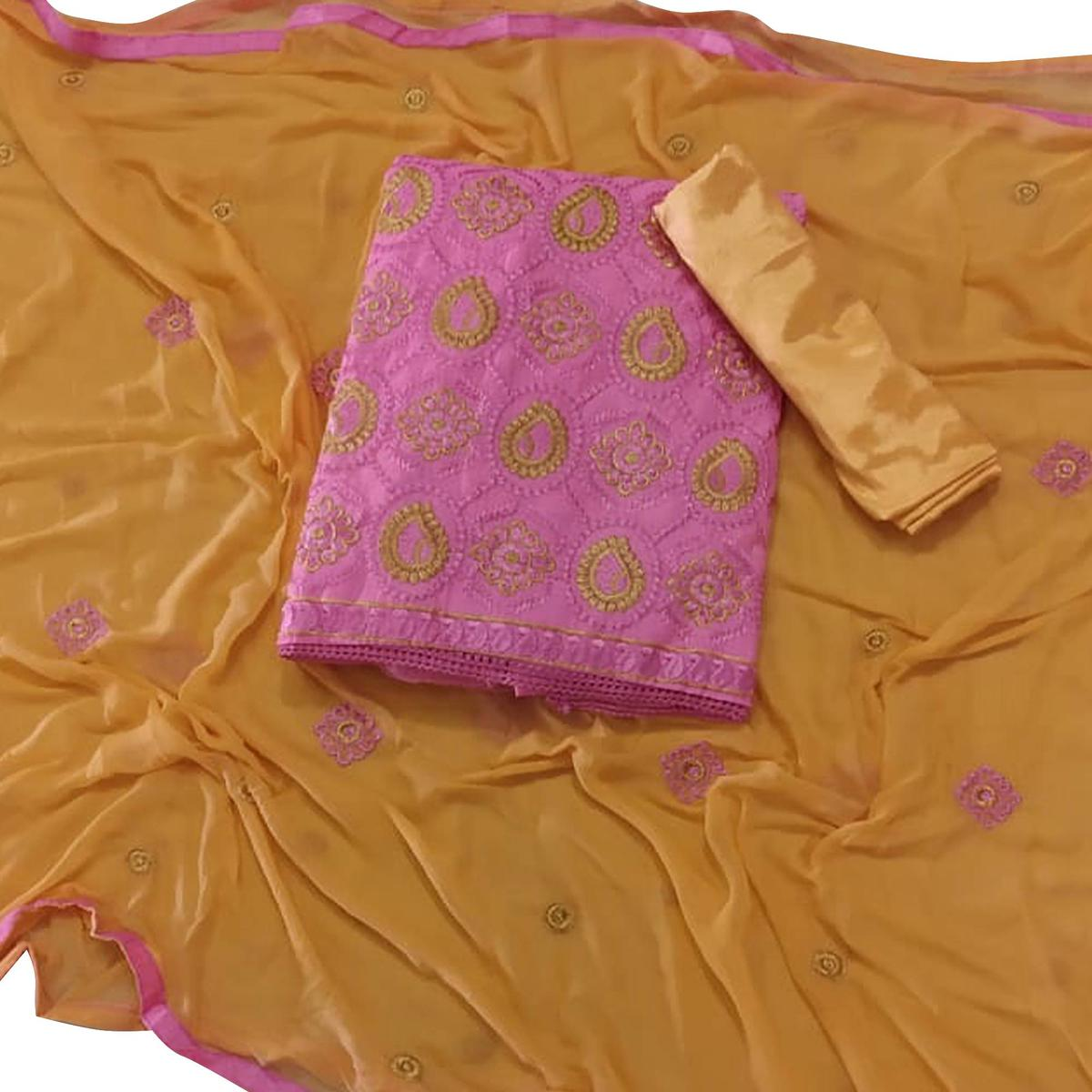 Blooming Pink Colored Partywear Embroidered Cotton Dress Material