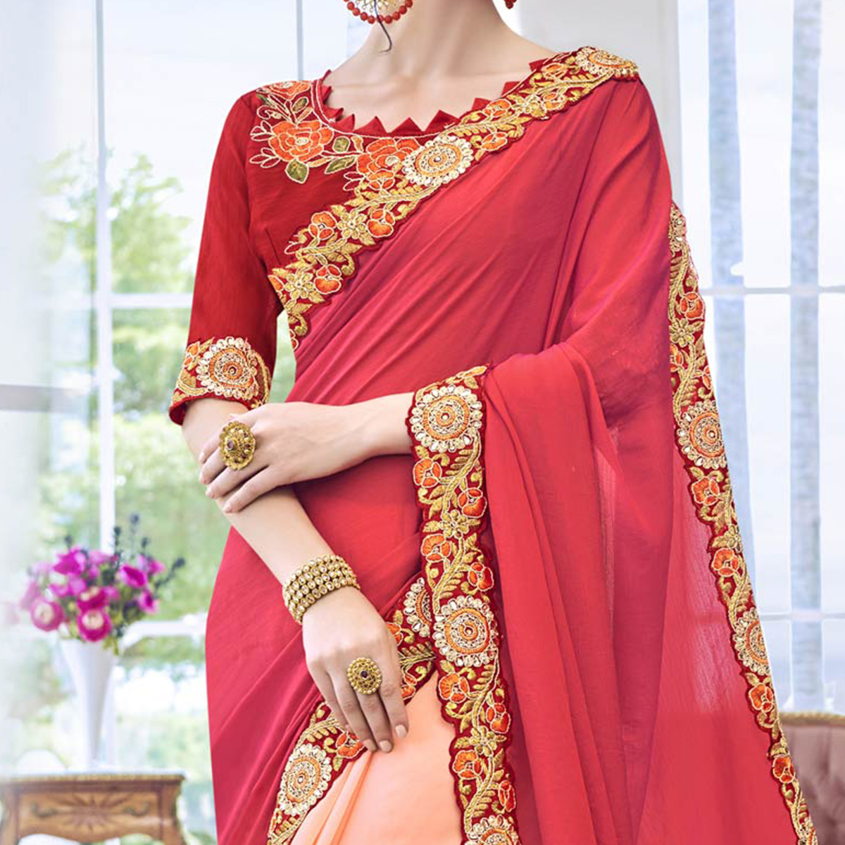 Radiant Peach - Red Embroidered Georgette Saree