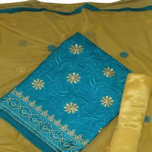 Amazing Sky Blue Colored Partywear Embroidered Cotton Dress Material