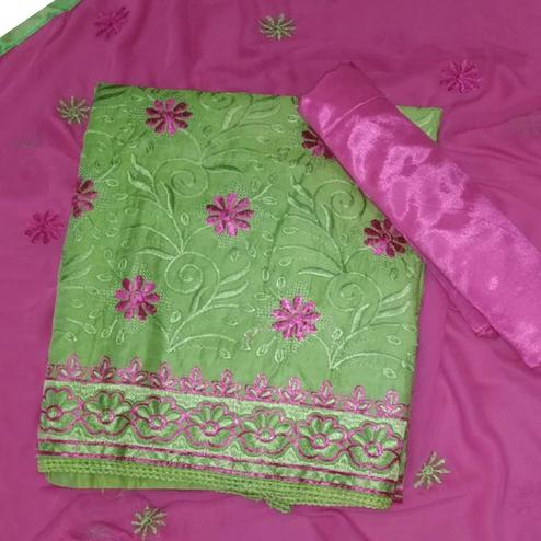 Gorgeous Green Colored Partywear Embroidered Cotton Dress Material