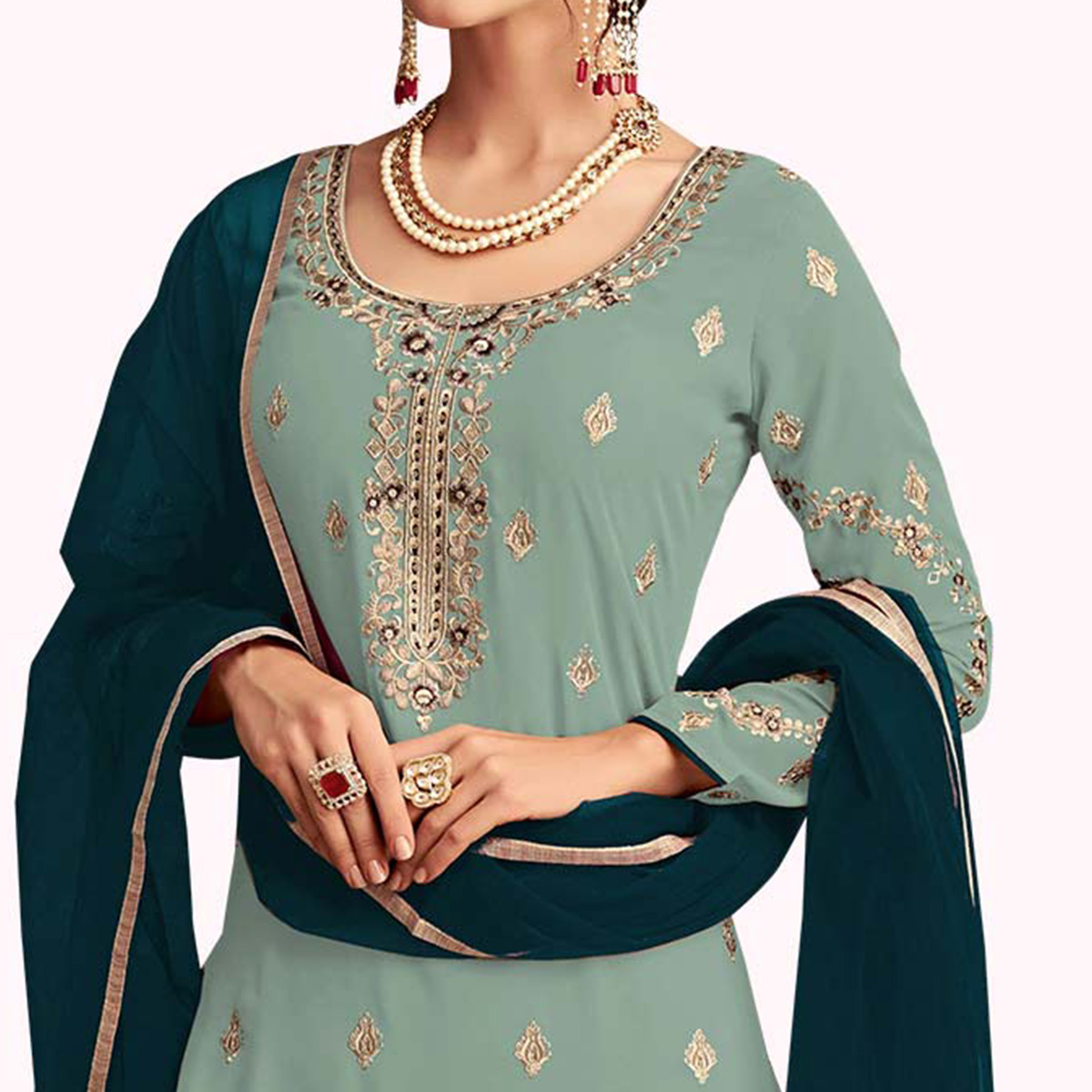 Sensational Sky Blue Colored Partywear Embroidered Faux Georgette Palazzo Suit