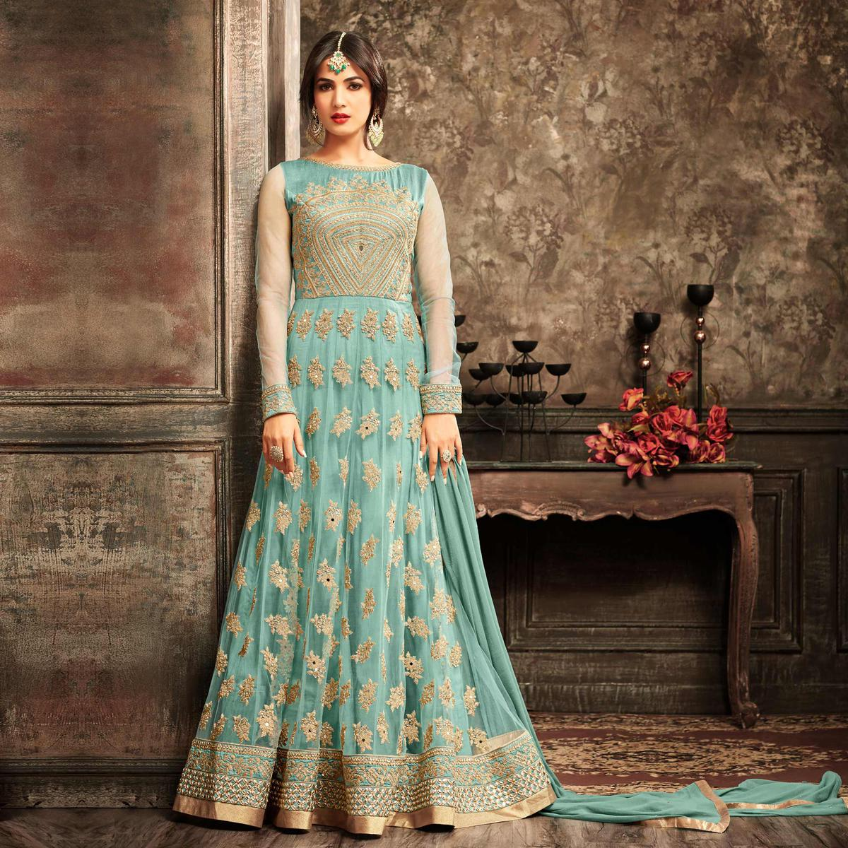 Green Embroidered Work Net Anarkali Suit