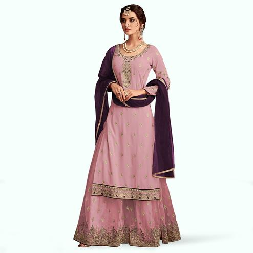 Flirty Pink Colored Partywear Embroidered Faux Georgette Palazzo Suit