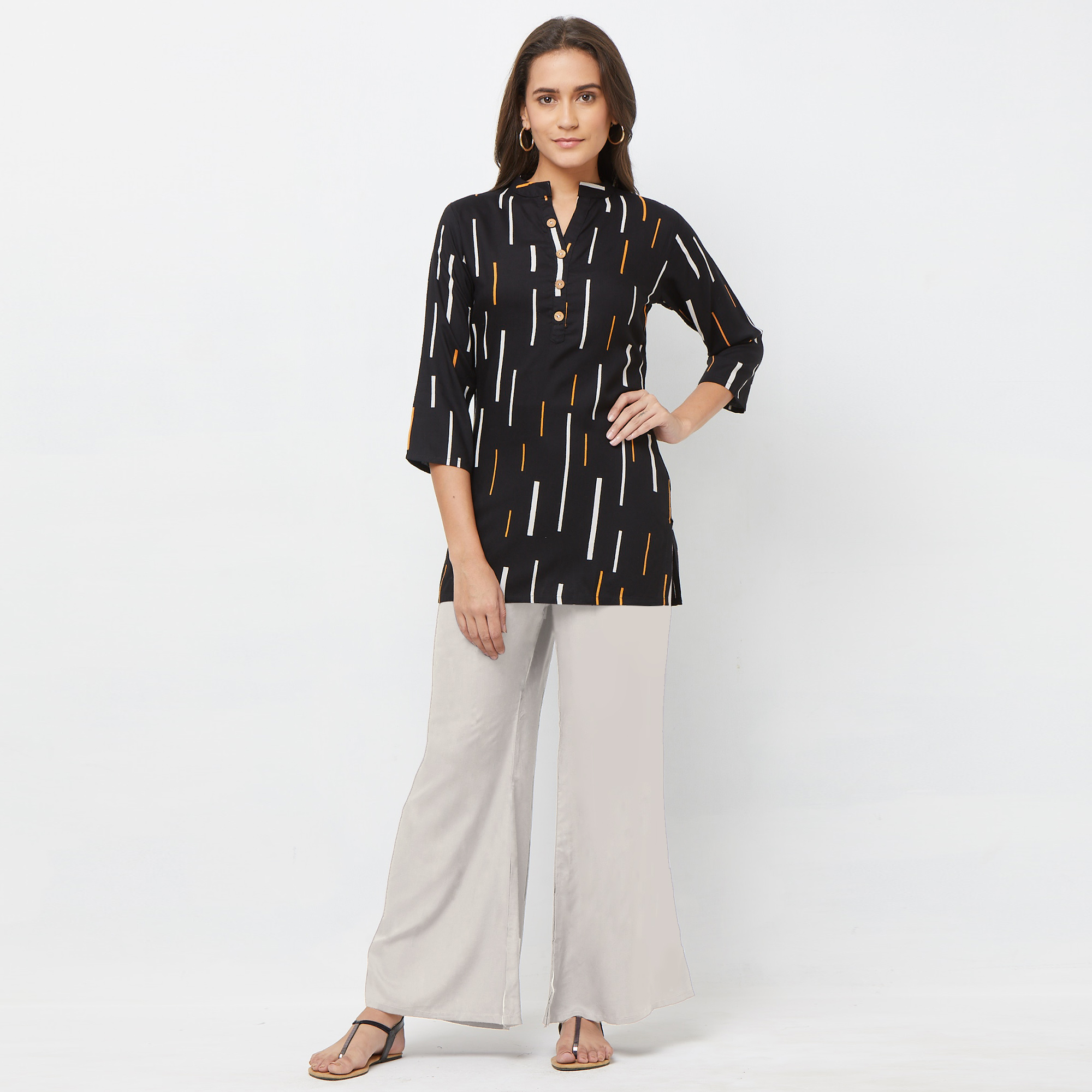 Intricate Black Colored Casual Printed Rayon Top