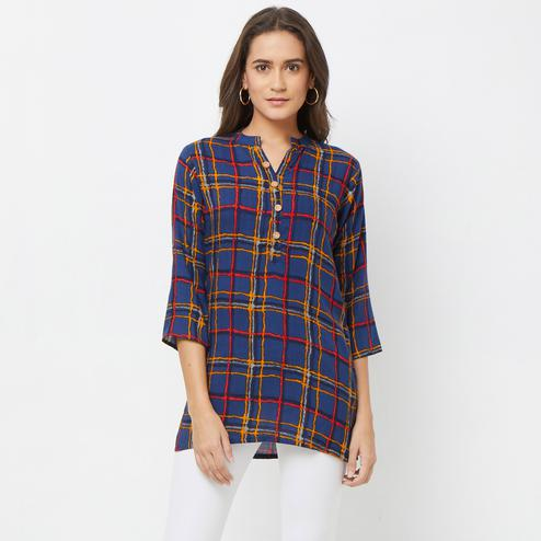 Arresting Navy Blue Colored Casual Printed Rayon Top