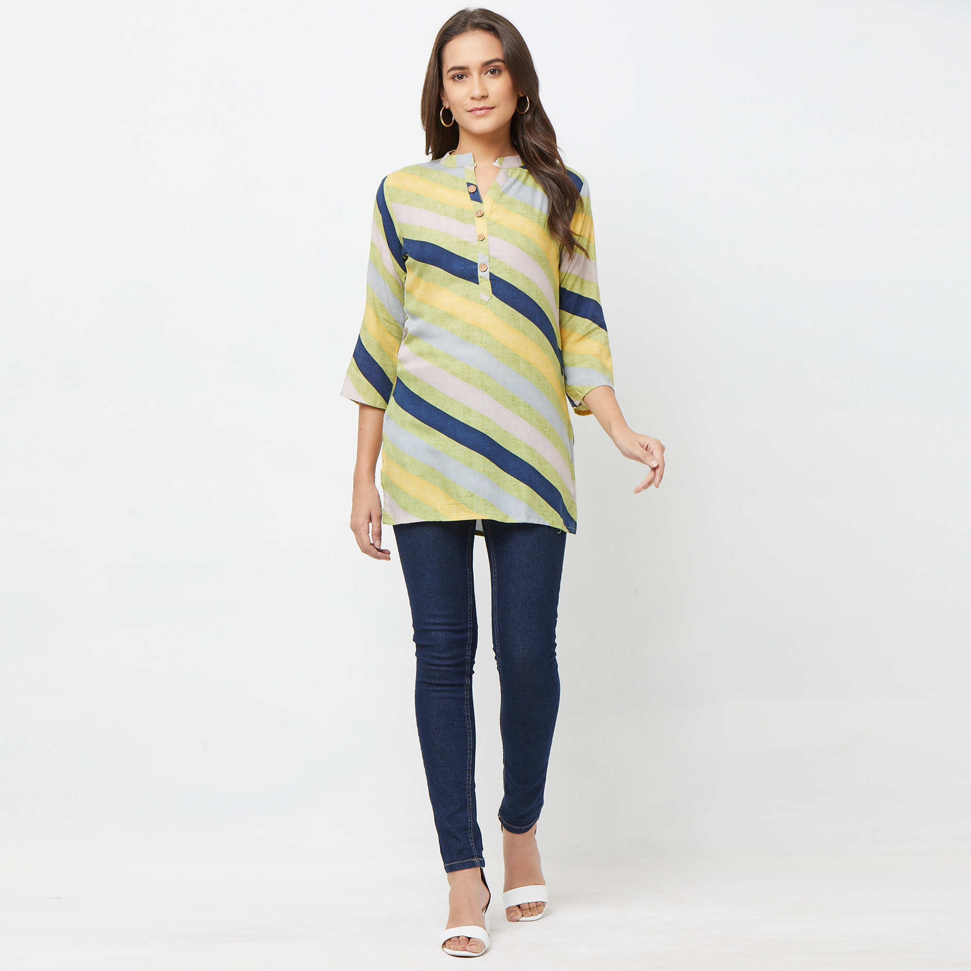 Desirable Green-Multi Colored Casual Printed Rayon top