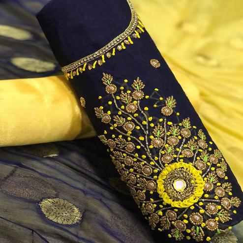 Gleaming Navy Blue Colored Partywear Embroidered Chanderi Silk Dress Material