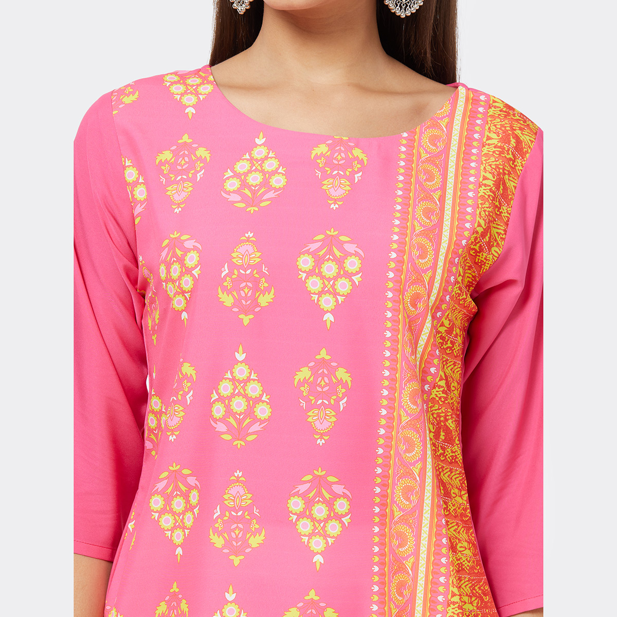 Flattering Pink Colored Casual Printed Crepe Kurti