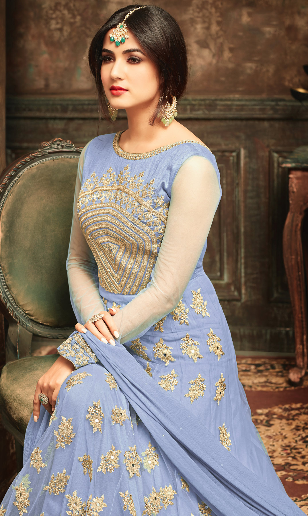 Grey Embroidered Work Party Wear Net Anarkali Suit