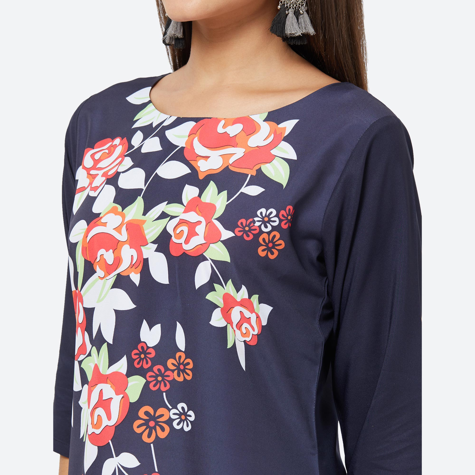 Preferable Navy Blue Colored Casual Printed Crepe Kurti