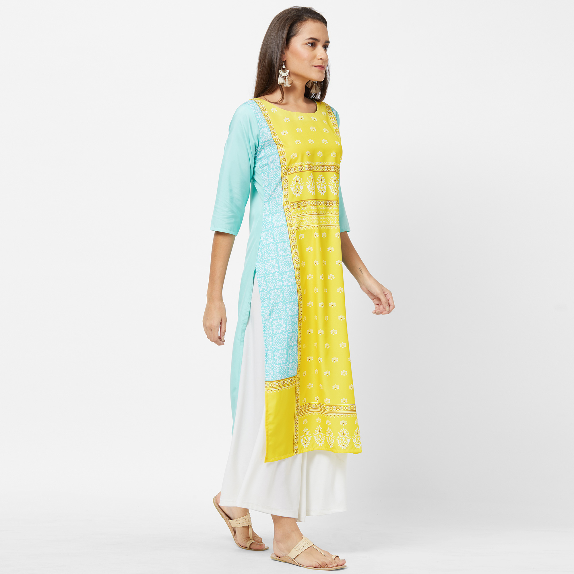 Marvellous Yellow-Sky Blue Colored Casual Printed Crepe Kurti
