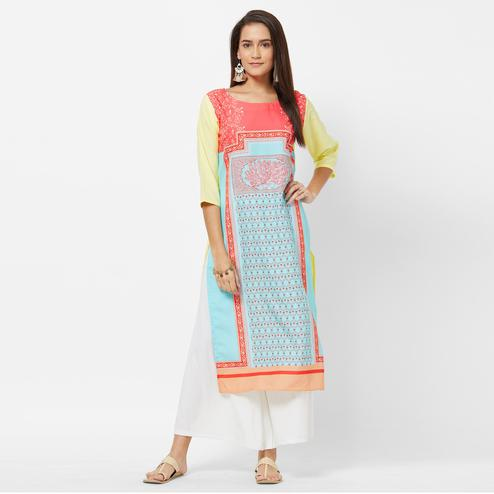 Flamboyant Sky Blue-Multi Colored Casual Printed Crepe Kurti
