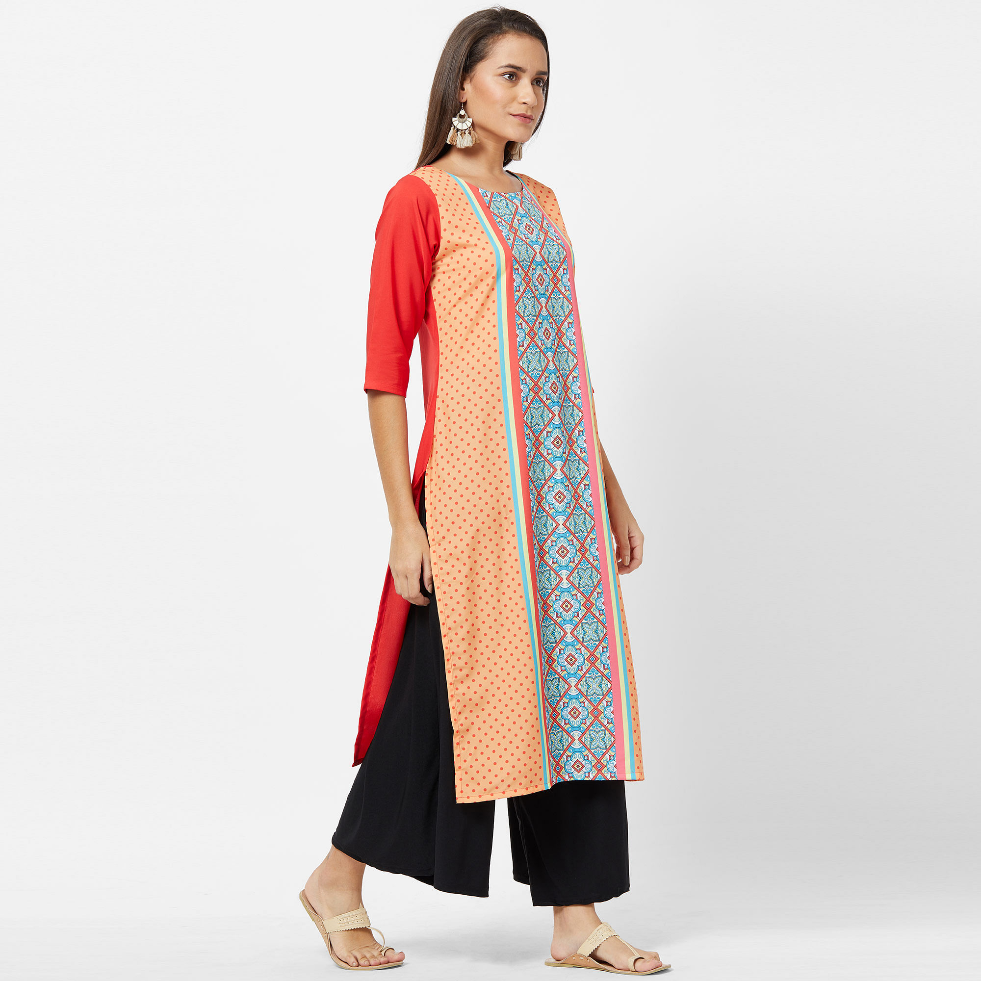 Pretty Peach-multi Colored Casual Printed Crepe Kurti