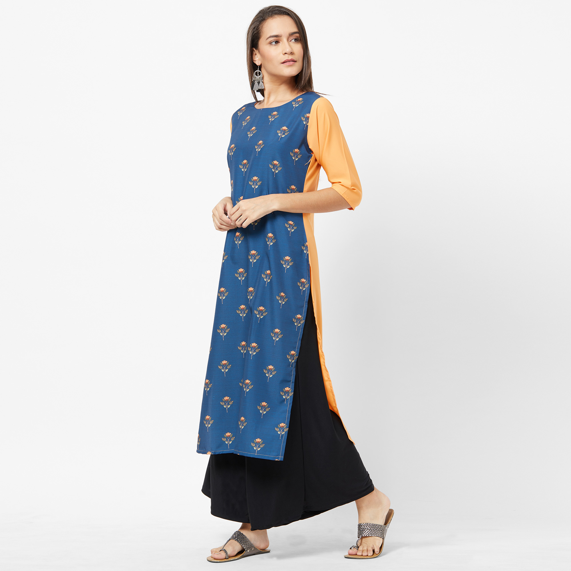 Flaunt Blue Colored Casual Printed Crepe Kurti
