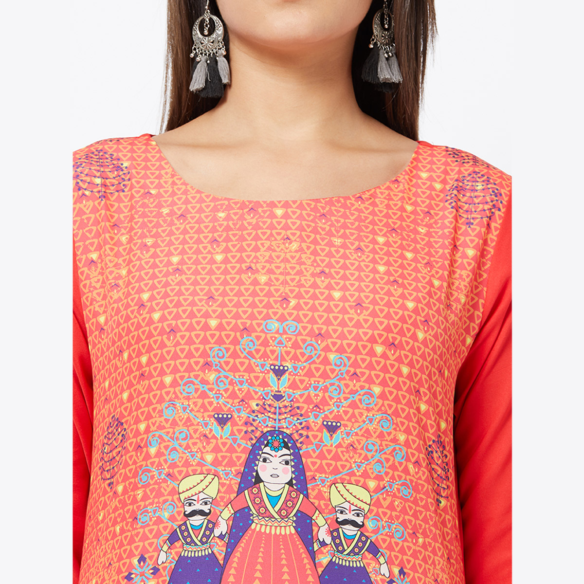 Flirty Peach Colored Casual Printed Crepe Kurti