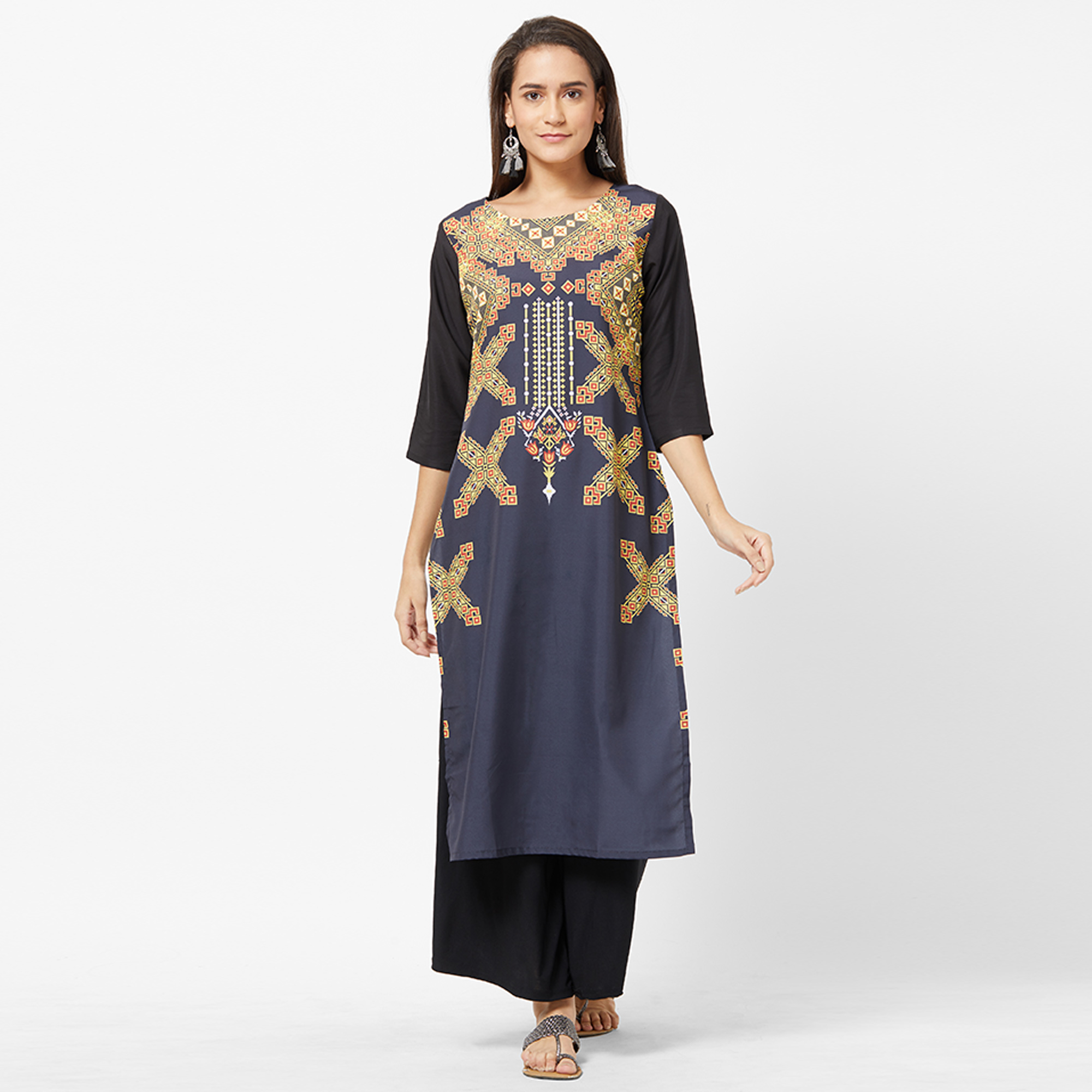 Ravishing Navy Blue Colored Casual Printed Crepe Kurti