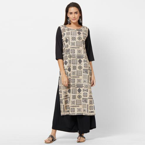 Breathtaking Beige-Black Colored Casual Printed Crepe Kurti