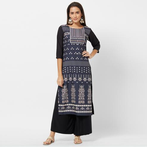 Mesmerising Navy Blue Colored Casual Printed Crepe Kurti