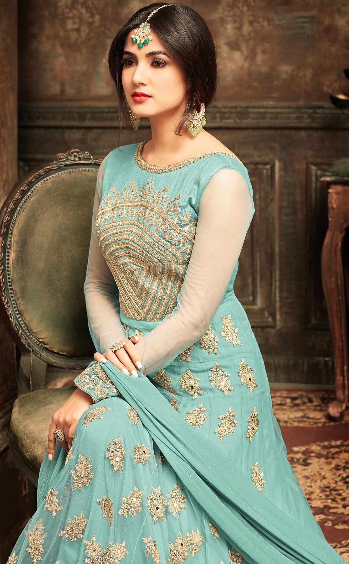 Sky Blue Party Wear Embroidered Work Net Anarkali Suit