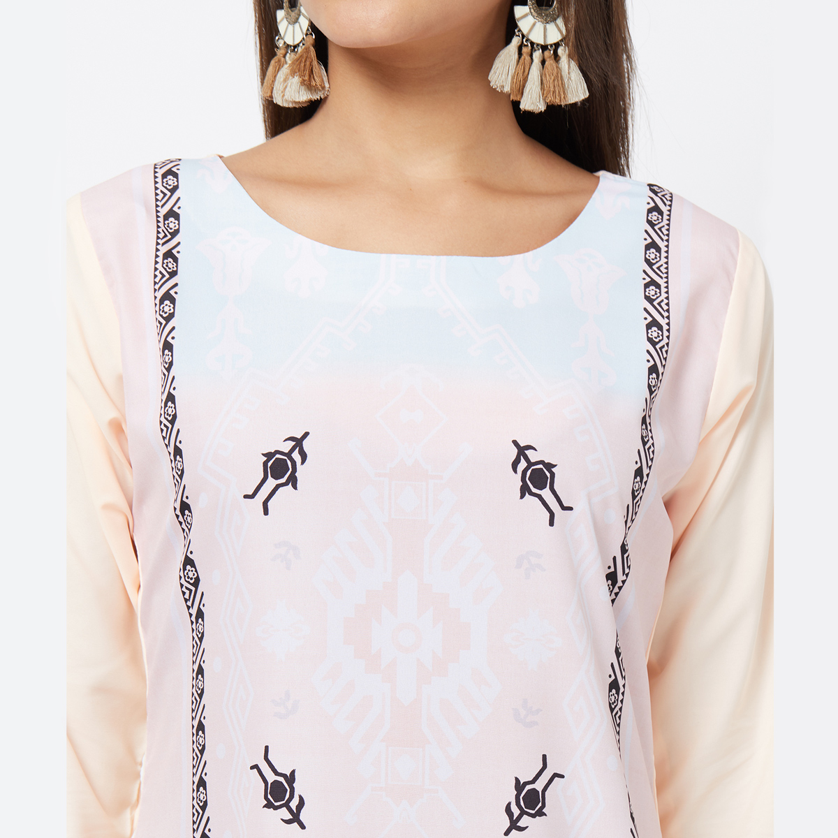 Majesty Light Pink Colored Casual Printed Crepe Kurti