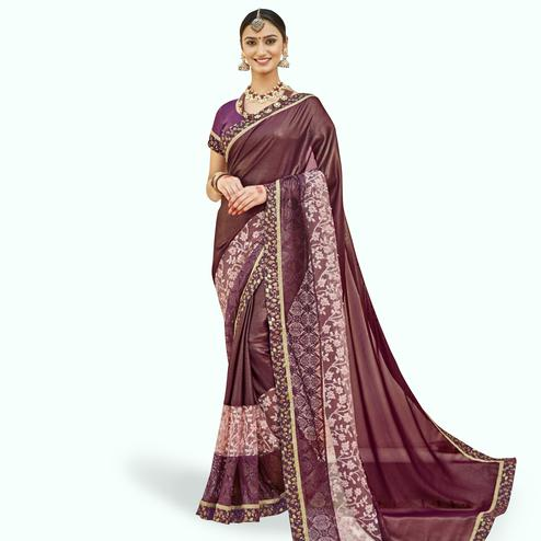 Majesty Purple Colored Partywear Embroidered Georgette Saree