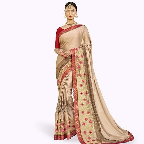 Pleasance Beige Colored Partywear Embroidered Georgette Saree