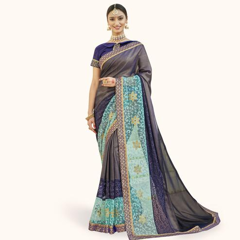Breathtaking Blue Colored Partywear Embroidered Chiffon Saree