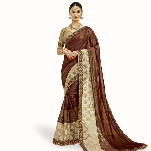 Ethnic Brown Colored Partywear Embroidered Chiffon Saree