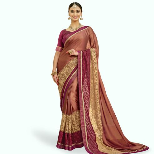 Staring Multi Colored Partywear Embroidered Georgette Saree