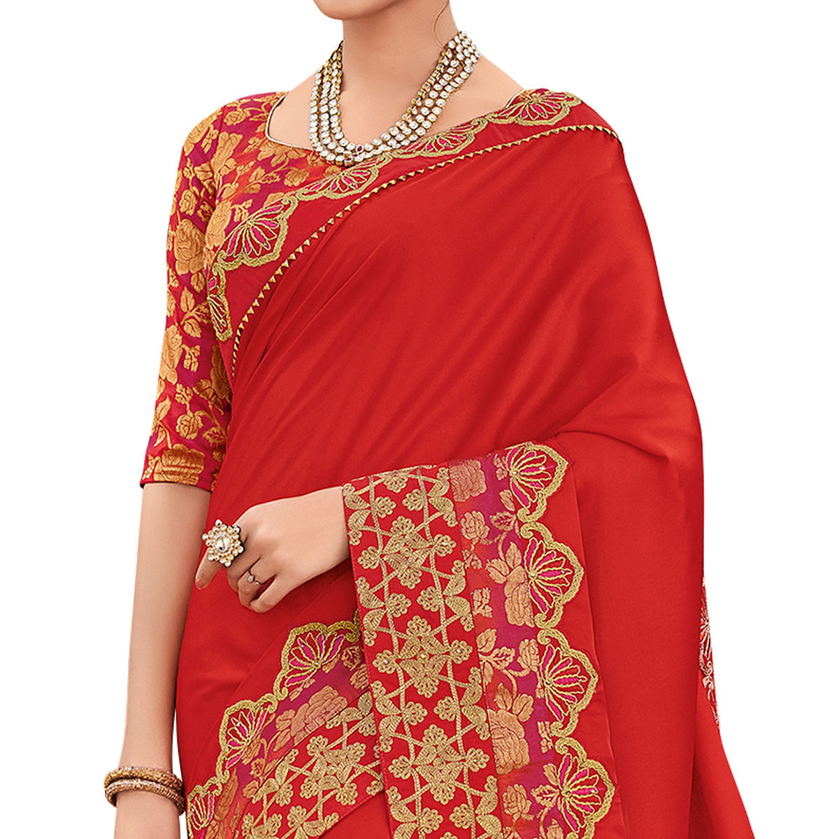 Trendy Red Colored Partywear Embroidered Satin Silk Saree