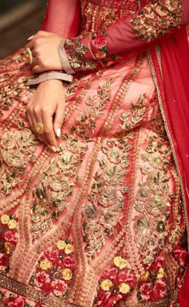 Red Heavy Embroidered Work Net Anarkali Suit