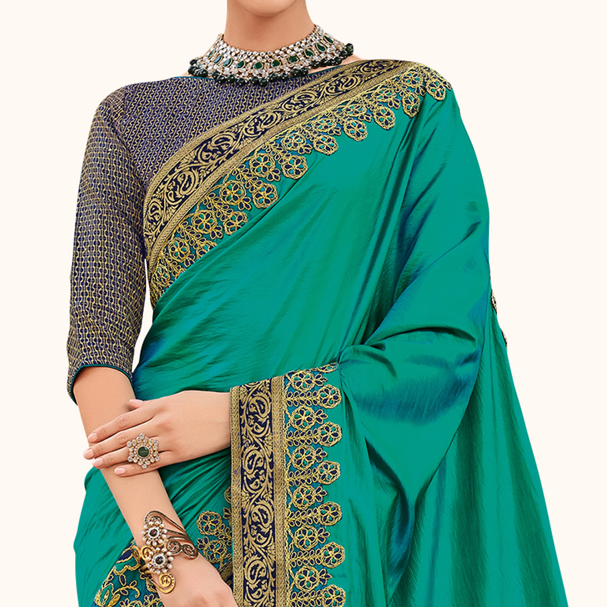 Pleasant Turquoise Green Colored Partywear Embroidered Raw Silk Saree