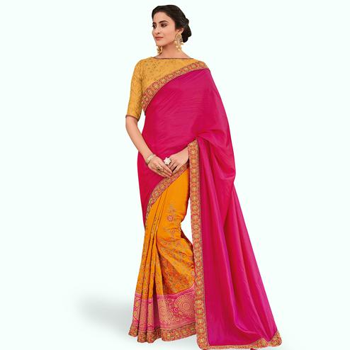 Energetic Pink-Yellow Colored Partywear Embroidered Raw Silk Saree
