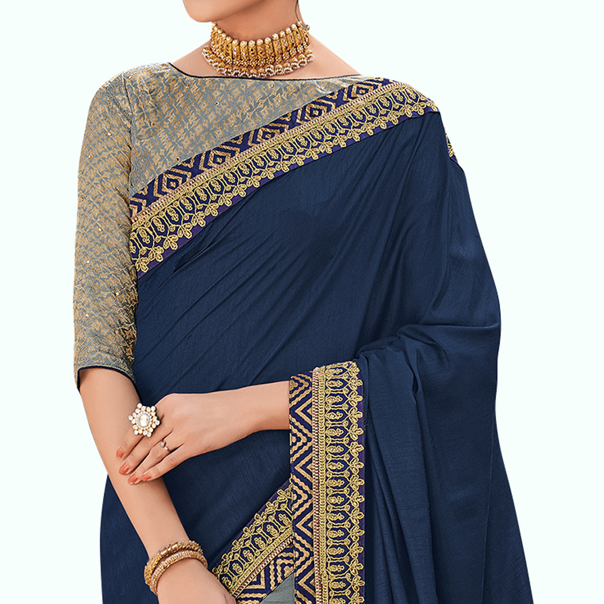 Glowing Navy Blue-Gray Colored Partywear Embroidered Raw Silk Saree