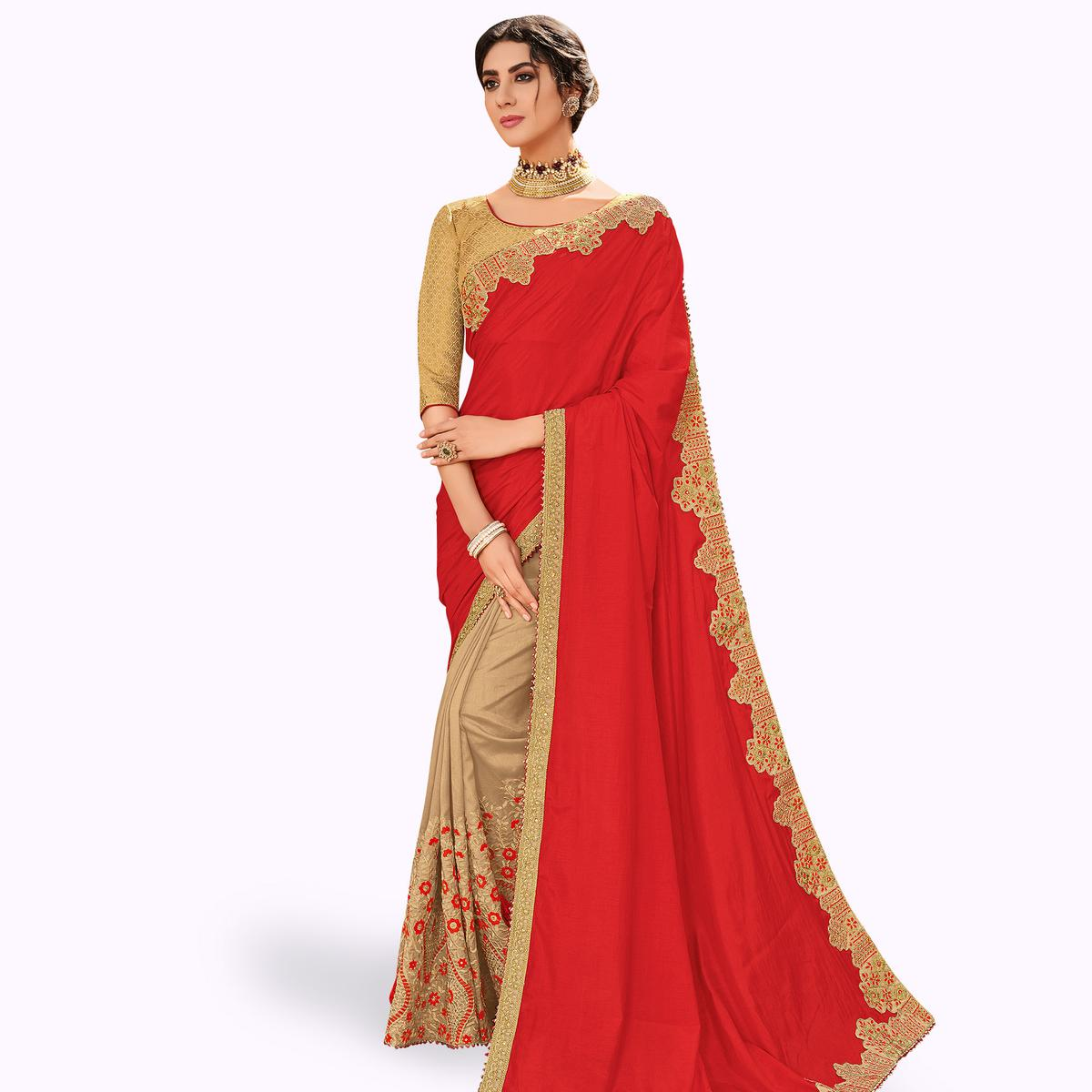 Exceptional Red-Beige Colored Partywear Embroidered Raw Silk Saree