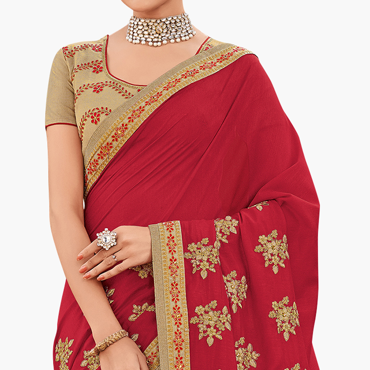 Mesmeric Red Colored Partywear Embroidered Silk Saree