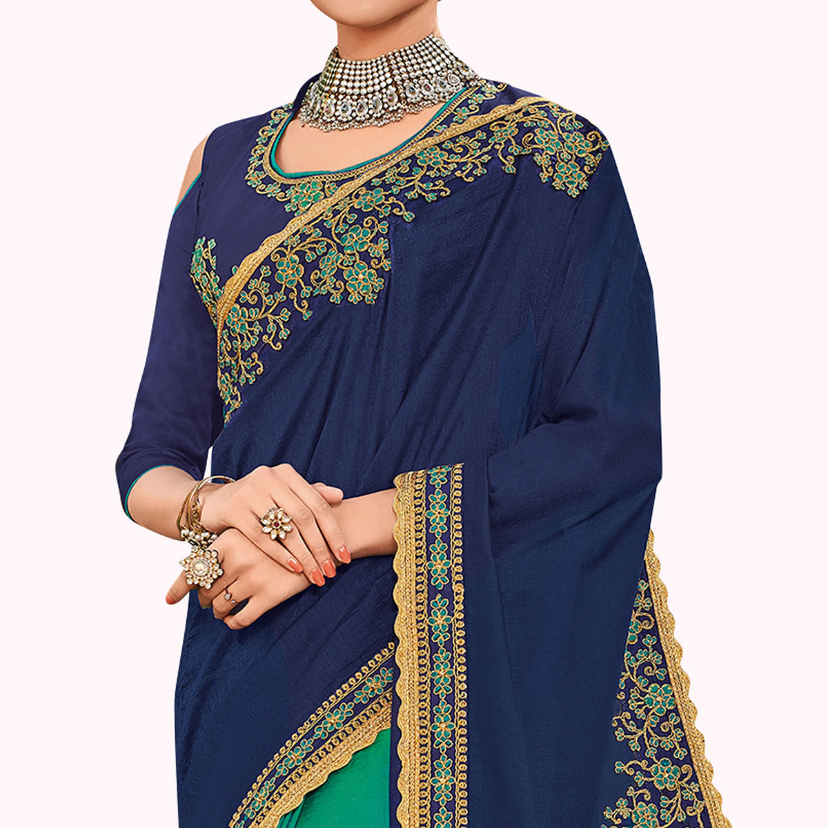 Unique Navy Blue-Green Colored Partywear Embroidered Silk Saree