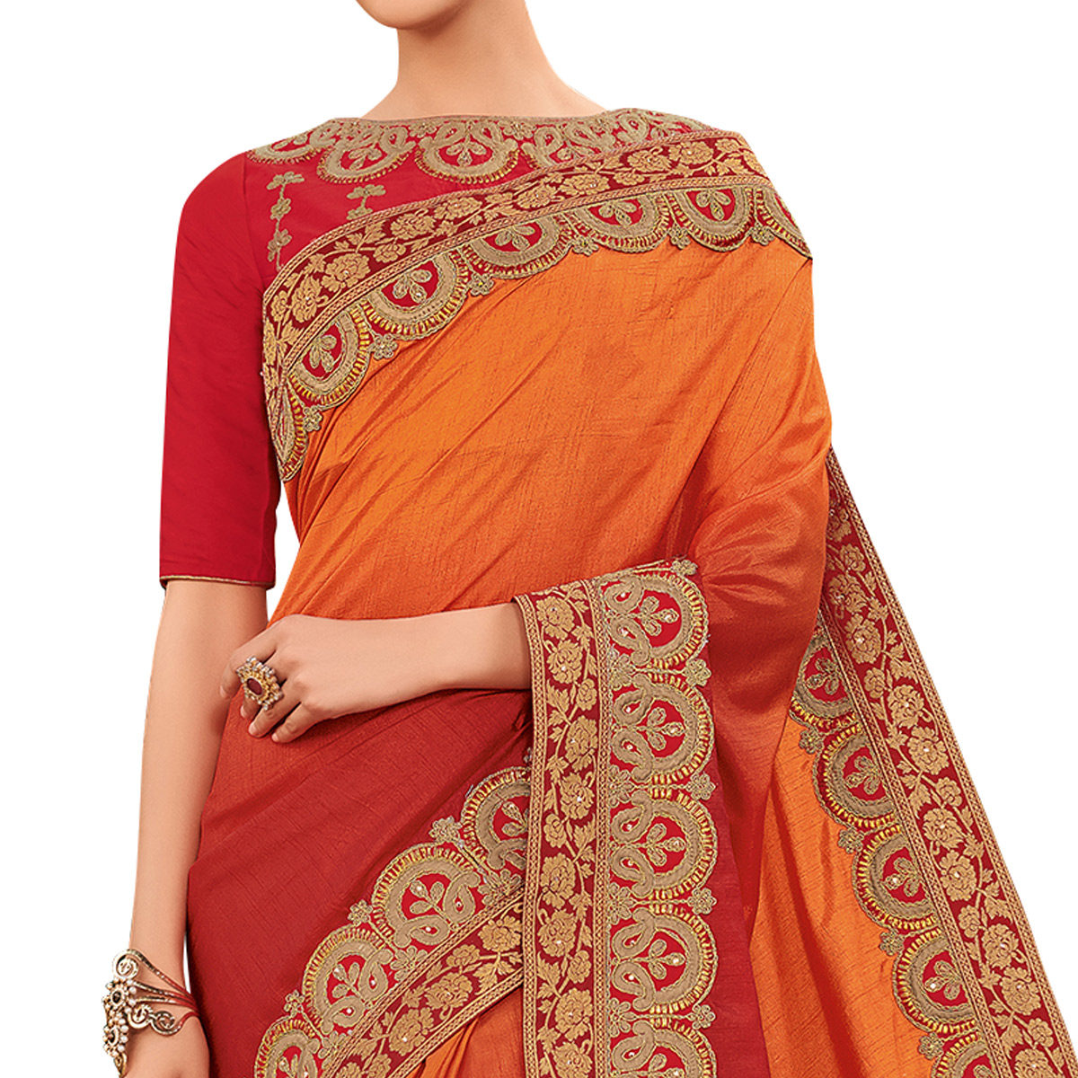 Demanding Orange-Red Colored Partywear Embroidered Silk Saree