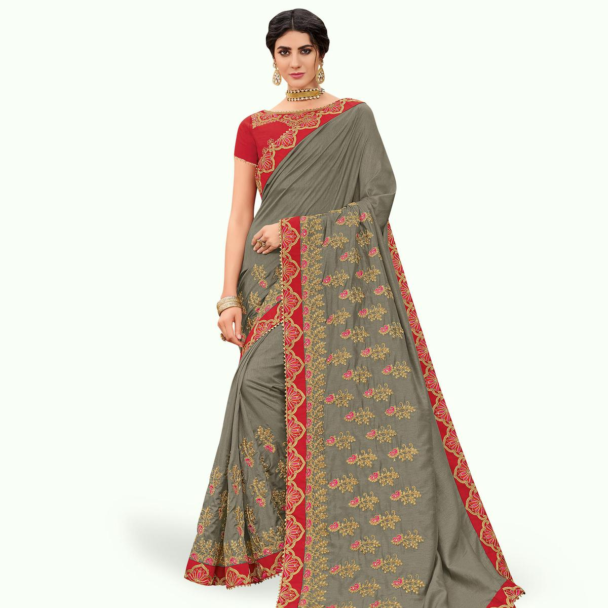 Refreshing Gray Colored Partywear Embroidered Silk Saree