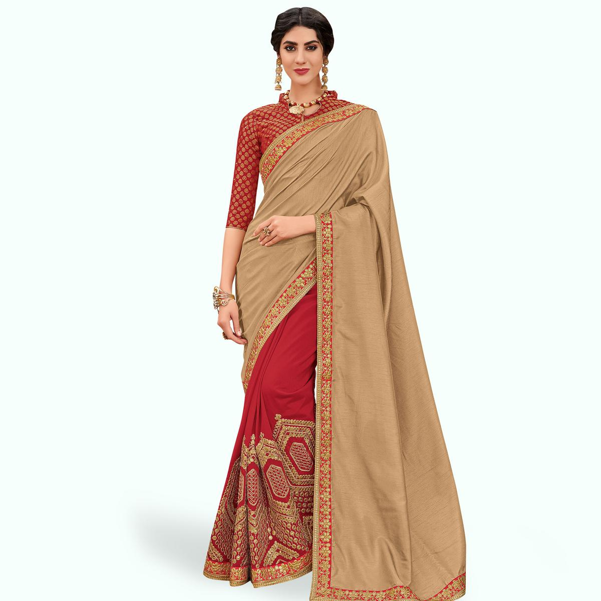 Flattering Beige-Red Colored Partywear Embroidered Silk Saree