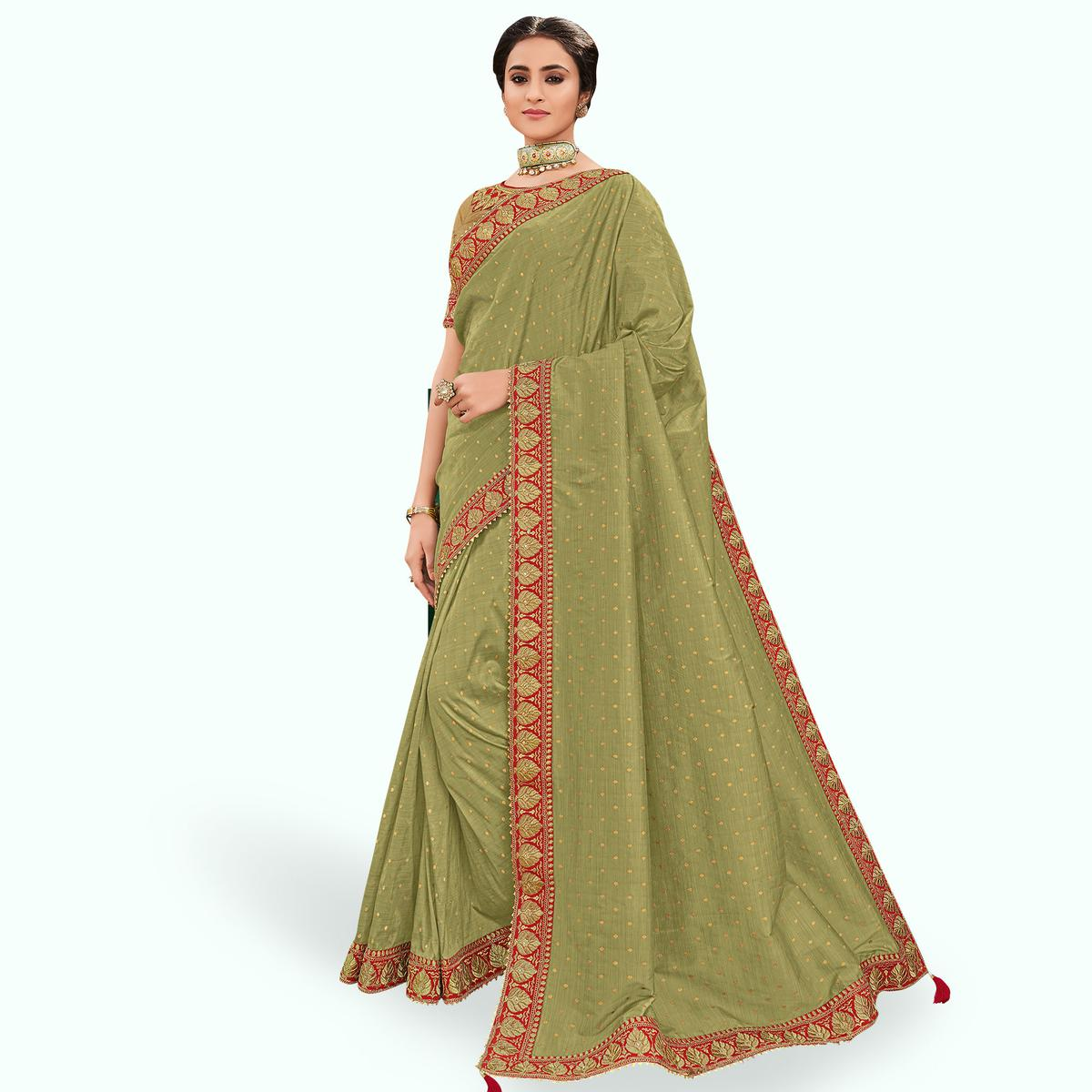 Desirable Light Green Colored Partywear Embroidered Silk Saree