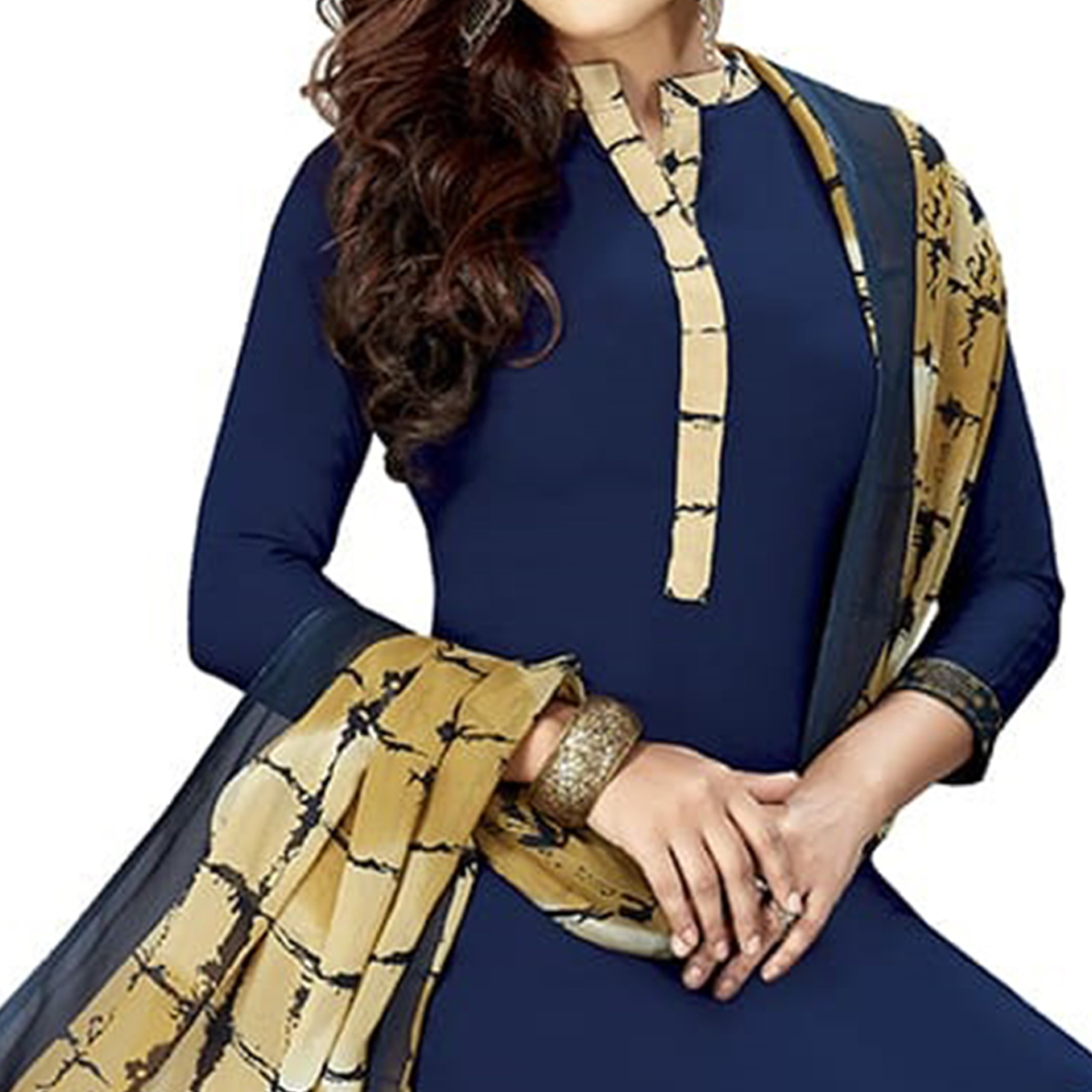 Ravishing Navy Blue Colored Casual Printed Crepe Dress Material