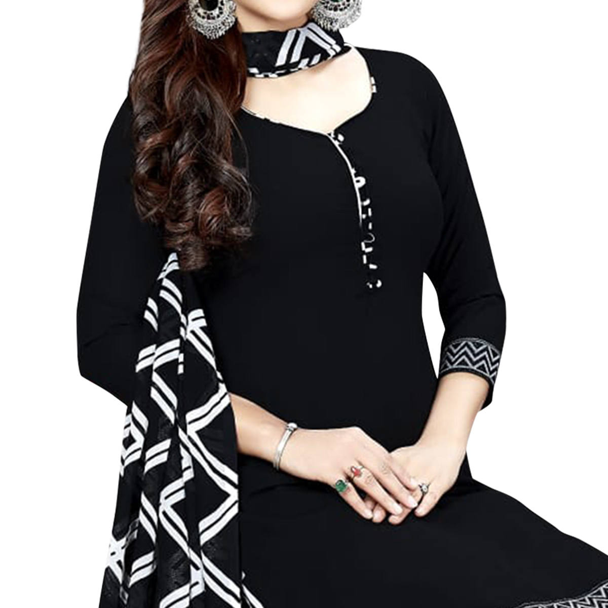 Staring Black Colored Casual Printed Crepe Dress Material