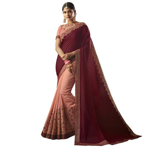 Graceful Maroon-Peach Colored Partywear Embroidered Georgette-Silk Saree