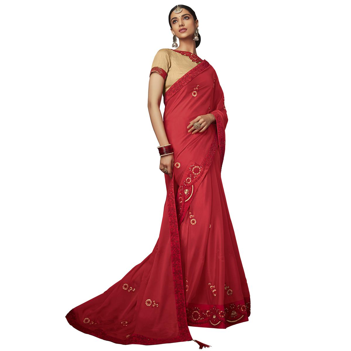 Charming Red Colored Partywear Embroidered Georgette Saree