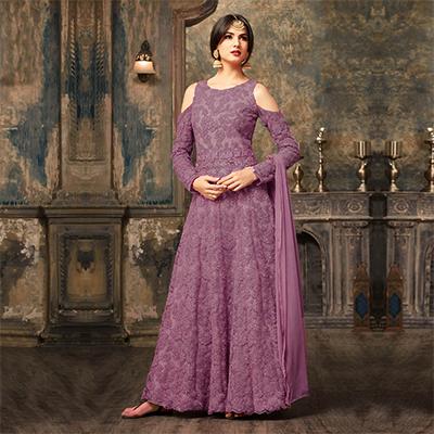 Light Purple Floral Embroidered Work Net Anarkali Suit