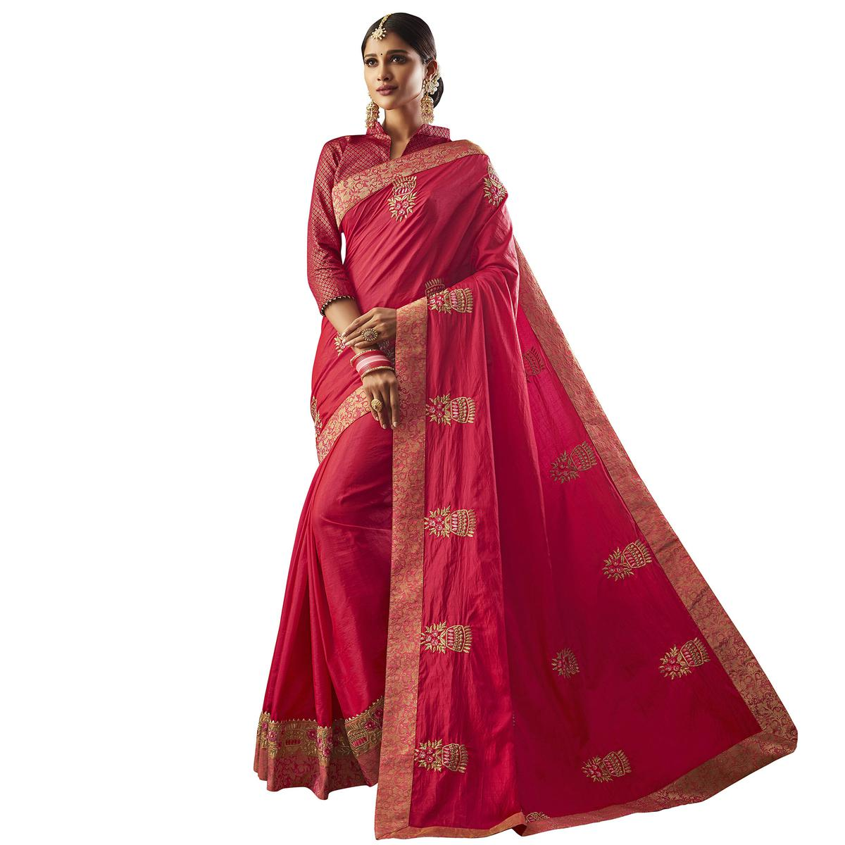 Captivating Pink Colored Partywear Embroidered Raw Silk Saree